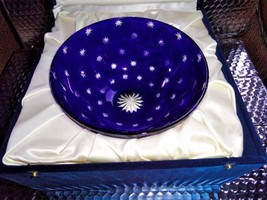FABERGE GALAXIE GALAXY BOWL COBALT BLUE CASED CUT TO CLEAR CRYSTAL - $355.50