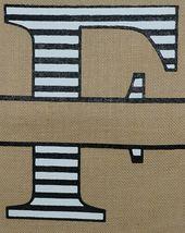 Kate Winston Brand Brown Burlap Monogram Black White F Garden Flag image 3