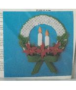 Poinsettia Wreath Christmas Holiday Needlepoint on Plastic Canvas Kit - $12.30