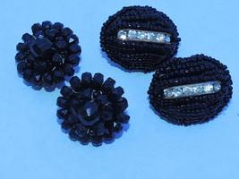 2 pair Vtg. Victorian  Mourning Clip On Earrings - $13.98