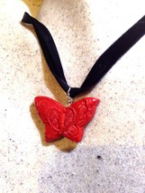 Hand Carved Vintage Genuine Red Cinnabar Butterfly Charm Necklace Pendan... - $64.35
