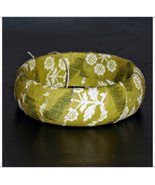 Olive Green Fabric Bangle, Green and Cream Floral Fabric Bracelet, Fabri... - $9.99