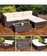 Brown Rattan Garden Corner Sofa Set Outdoor Conservatory Lounger Coffee ... - $507.75
