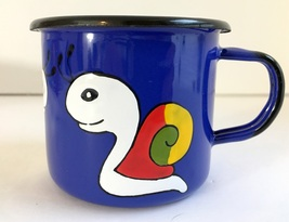 Child's Cup Mug Prague Praha Enamel Enamelware Blue & Multi Metal Czech ... - $7.99