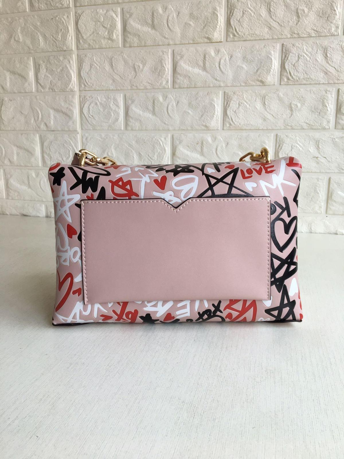 Michael Kors Cece Chain Graffiti Print Leather Medium Shoulder Bag Pink Multi