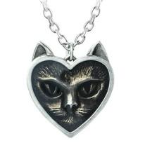 Alchemy Gothic Love Heart Shaped Cat Face Fine English Pewter Pendant Ki... - $22.45