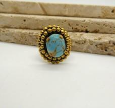 Vintage Glass Turquoise Gold Tone Boho Ring Size 5 - Adjustable FF25 - $20.78