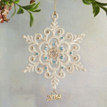 Lenox 2014 Gemmed Snowflake Ornament Annual Blue Gold Beads Christmas Ra... - $195.00