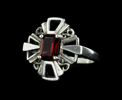 Primary image for Vintage Sterling Emerald Cut Deep 1.70ct Garnet Maltese Cross Ring sz 9