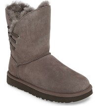 Womens Ugg Australia Boots Uggs Constantine Grey Fur Laced Booties 5 DEFECT - $119.67