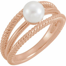 Freshwater Cultured Negative Space Rope Pearl Ring In 14K Rose Gold - $499.99