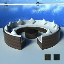 Patio Rattan Round Sofa Set Lounger Wicker Furniture Outdoor Seat Brown/... - $754.99