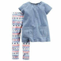 Carter's Toddler Girl's 2 Piece Chambray Pocket Tunic & Geo Pattern Legg... - $21.99
