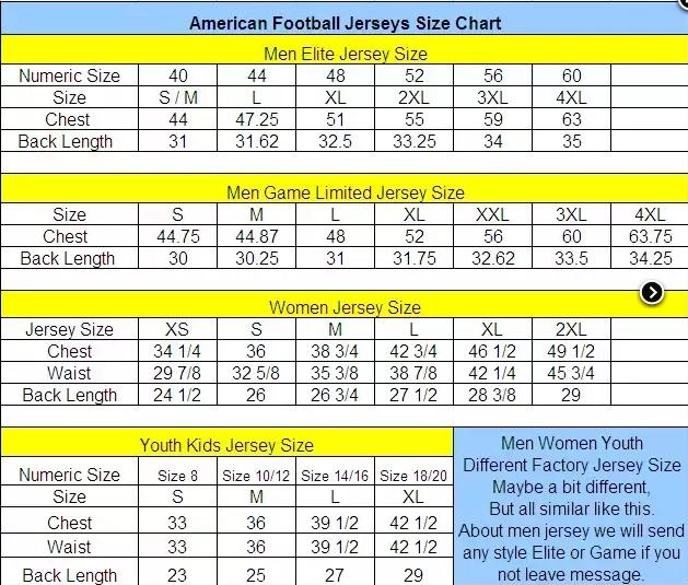 elite jersey size chart