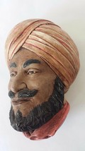 Ceramic Head Bust Wall Plaque Wall Hanging Man with Turban Vintage 1981 - $14.84