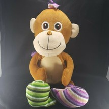 "Big Silly Sock Monkey Brown 15"" Sitting Large Purple Green Socks Tail 24"" Tall - $39.59"