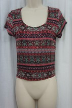 American Rag Top Sz M Fusion Coral Combo Print Cropped Casual Tee  - $19.71