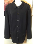 J M Woman Collection Black Lightwieght Shirt Pocket Jacket Size 20 W NEW... - $12.61