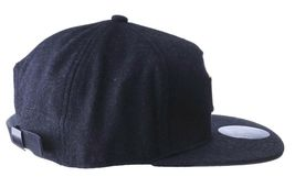 Official Crown Black Luxury Brushed Wool Stato Dorada Strapback Baseball Hat NWT image 3