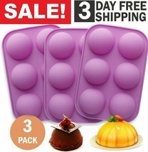 6 Holes Half Ball Silicone Chocolate Mold Sphere Cake Baking Mold Muffin... - $9.89