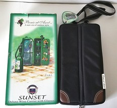 Black Picnic at Ascot Sunset Deluxe Insulated Wine Carrier with Glasses ... - $31.14
