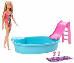 Barbie Doll, 11.5-Inch Blonde, and Pool Playset with Slide and (Blonde) - $25.48