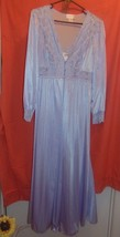 Vintage Shadowline Long Gown & Robe Set Lavender Medium-Lace-Lingerie- - $51.99