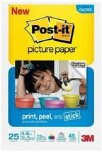 """Post-it 4"""" x 6"""" Picture Paper, Soft Gloss Finish, 25 Sheets/Pack [Brand New] - $9.82"""