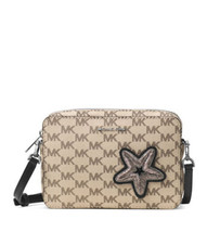 Michael Kors Studio Star Fish Patch Jet Ser Travel East West Crossbody Bag Nwt - $82.16