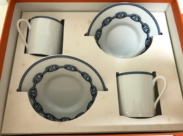 Hermes Chaine D'ancre Demitasse Cup and Saucer 2 set Espresso Dinnerware... - $236.61
