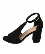 Qupid Edeena 02 Black Women's Peep Toe Perforated Sandal Heels - $34.95
