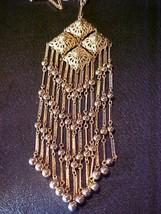 Vintage Goldtone Dangle Necklace and Clip Earrings Set - $75.00