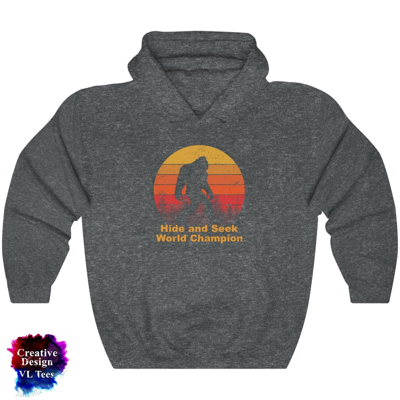 Funny Hide and seek champion Bigfoot Hooded Sweatshirt Gift Men Women Hoodie