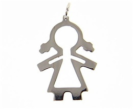 18K WHITE GOLD LUSTER PENDANT WITH GIRL BABY PERFORATED MADE IN ITALY 1.25 INCH image 1