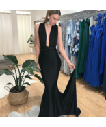 Sexy Black Women Dresses Sheer Neck Formal Prom Dresses Backless Pageant... - $140.00