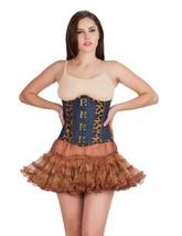 Leopard Print Leather Blue Denim Burlesque Underbust Tutu Skirt Corset Dress - $63.41