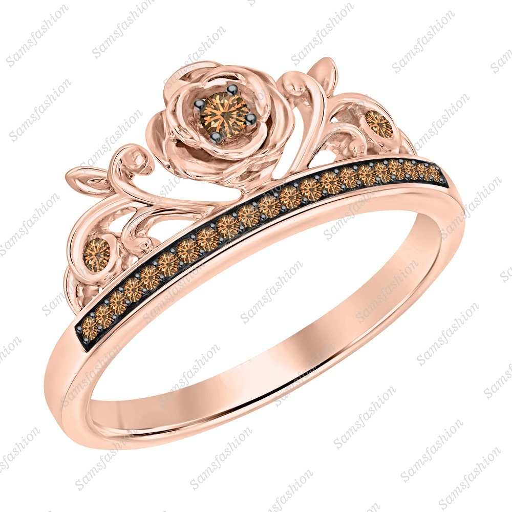 Primary image for Round Cut Smoky Quartz 14k Rose Gold Over .925 Silver Rose Flower Wedding Ring