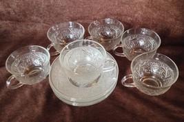 Anchor Hocking sandwich pattern set 6 coffee cups & saucers depression g... - $29.69