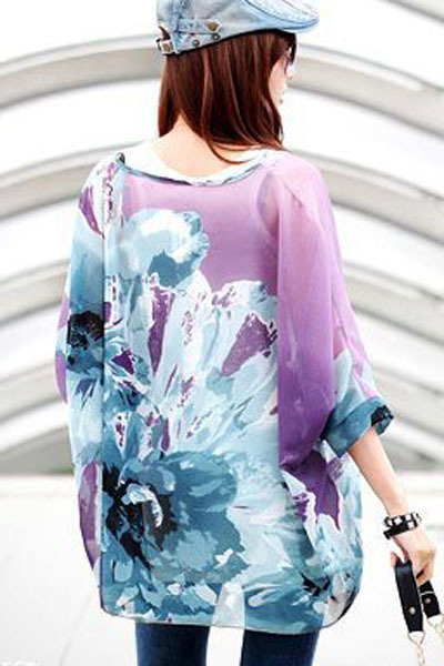 Purple Ink Painting Floral Print Chiffon Blouse
