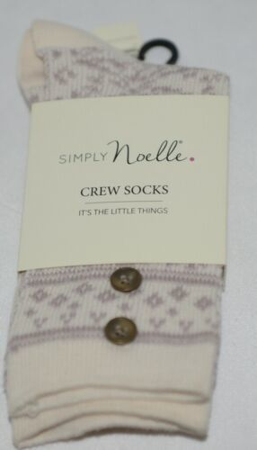 Simply Noelle Cream And Lavender Crew Sock One Size Fits Most