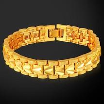 U7 Sale Heart Bracelet Gold Color Love Jewelry 21cm 12MM Bangles & Brace... - $17.19