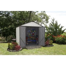 Storage Shed 8 x 7 Galvanized Steel Cream Charcoal Trim High Gable Outdo... - $505.74