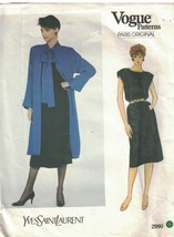 2990 Vogue Sewing Pattern Misses Paris Original Jacket Skirt Yves Saint ... - $19.79