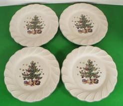 Nikko Happy Holidays Salad Plate (S) Lot Of 4 Christmas Scalloped Rim Crazing - $19.75