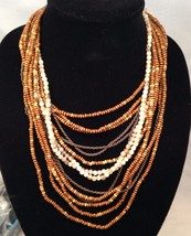 New Cookie Lee 12 Strand Wood and Glass Beads w/ Chains /  Large Lobster Clasp - $12.69