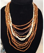 New Cookie Lee 12 Strand Wood and Glass Beads w/ Chains /  Large Lobster... - $12.69