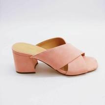 Nine West Womens Glimpse Slide Sandal Block Heels Pink Open Toe Slip On 7 New - $30.75
