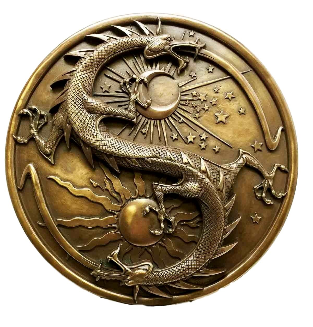Ebros Double Dragon Alchemy in Robust Yin Yang Astrology Fusion Wall Plaque Scul - $49.99