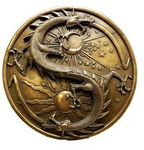 Double Dragon Alchemy in Robust Yin Yang Astrology Fusion Wall Plaque Sc... - $49.98