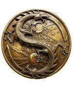 Double Dragon Alchemy in Robust Yin Yang Astrology Fusion Wall Plaque Sc... - $53.98